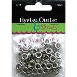 Bulk Buy: Eyelet Outlet (3-Pack) Eyelets & Washers 3/16in, 50 Eyelets, 50 Washers QEYE-169 (Color: 3/16