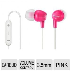 Sony Lightweight In Ear Deep Bass Sound Isolating Stereo Earbud Headphones With 3-Button Remote/Mic Compatable With Smartphones, Apple Ipod/Iphone, Mp3 Players, Cd Players, Laptops, And More, Pink