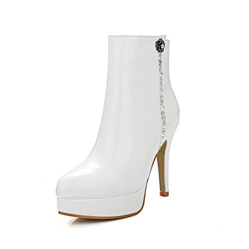 Guoar High Hells Spitze Zehen Damenstiefel Plateau Warm Kurzschaft Stiefel mit Reißverschluss Weiß EU35