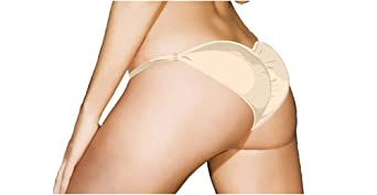 Ruched Scrunch Back Panty Booty Booster, L, Beige