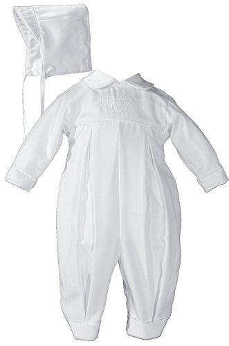 Pleated Boys Christening Baptism Coverall with Embroidered Shamrock Cluster and Hat - Size 6 Month
