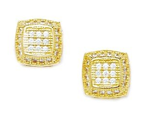 14ct Yellow Gold CZ Medium Square Micropave Earrings - Measures 9x9mm