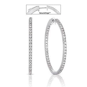 14k White Gold 2.30 Dwt Diamond 1.5 Securehinge Hoop Earrings - JewelryWeb