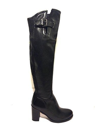 Stivali DV8016-27 Divine Follie alti con tacco eleganti in pelle nero, 37 MainApps