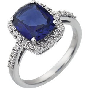 14kt White Created Blue Sapphire & .07 CTW Diamond Ring