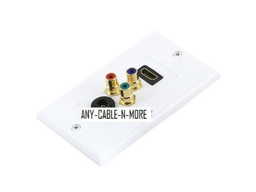 HDMI | 3 RCA component | Toslink Wall Plate - Coupler Type
