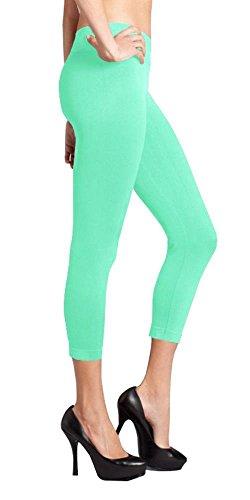 Green Women's Stretch Control Seamless Basic Footless Crop Capri Leggings High Waist