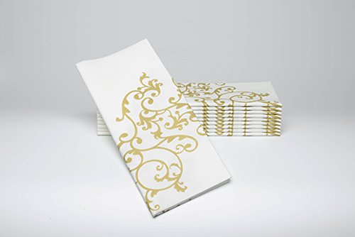 Dinner Napkins - GOLD & WHITE - Decorative Colored Napkins - Cloth Like & Disposable - Elegant & Durable - Soft & Absorbent - LARGE 19