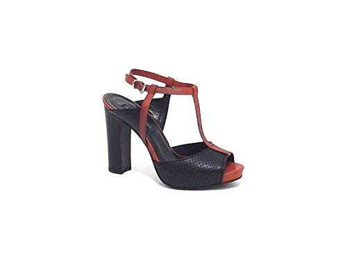 Janet & Janet donna, modello sandalo 37505, in pelle, colore nero e cotto tg 38