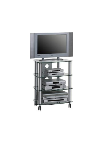 MAJA-Mbel-1611-9499-TV-HiFi-Rack-Metall-Alu-Klarglas-Abmessungen-BxHxT-60-x-744-x-465-cm