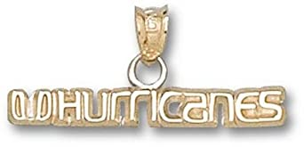 Miami Hurricanes UHurricanes 1 8 Pendant - 14KT Gold Jewelry by Logo Art