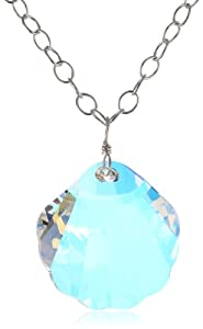 """Sterling Silver Chain with Swarovski Elements Shell Pendant Necklace, 24"""""""
