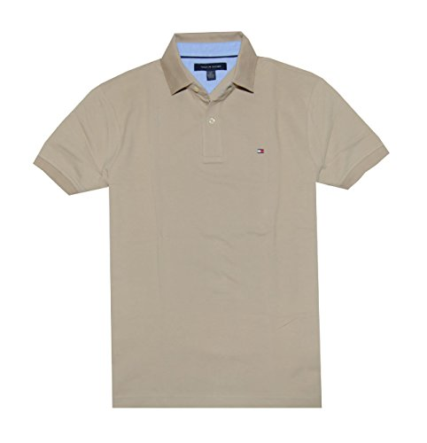 Tommy Hilfiger Classic Fit Men Polo T-shirt (S, Tan)