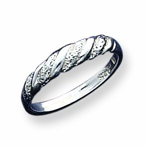 Sterling Silver Diamond-cut Twisted Ring