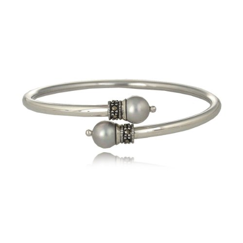 Sterling Silver Marcasite and Grey Pearl Bypass Bangle Bracelet