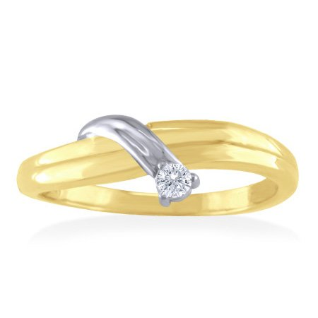 14K Two Tone Gold Diamond Solitaire Promise Ring