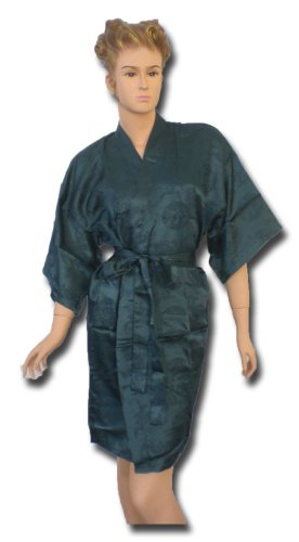 Satin Kimono Bath Robe Night Gown Geisha Flower Japan unisize for L / XL turquoise KN01