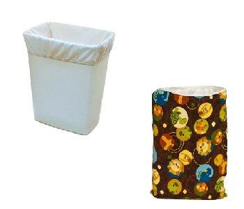 Kissaluvs Antibacterial Wet Bag And Pail Liner Combo (White Pail Liner/Safari Wet Bag) front-280370