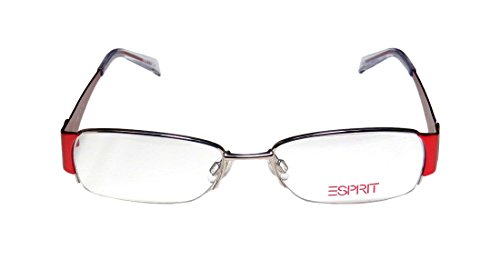 [Esprit 17302 Womens/Ladies Designer Half-rim Eyeglasses/Eye Glasses (50-16-135, Silver / Red)] (Elizabeth Bass Costume Designer)