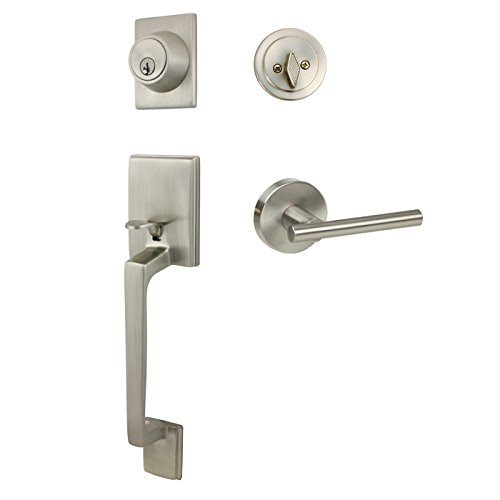 Designers Impressions Churchill Satin Nickel Handleset with Kain Interior Lever (We Key All Lock Orders Alike for Free) (House Front Door Handle And Lock compare prices)