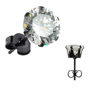 3mm -Spikes 316L Stainless Steel Black ip Plated cz Stud Earrings