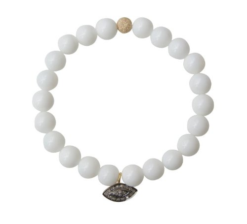 White Onyx with Diamond Evil Eye