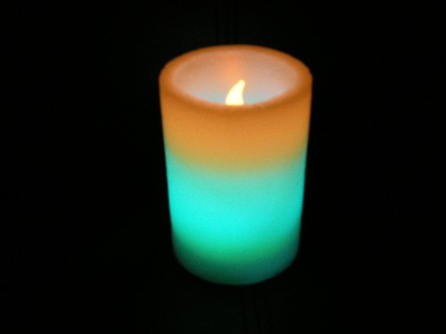 PK Green Colour Changing LED Wax Pillar Candle, Mood, Relaxation Lighting