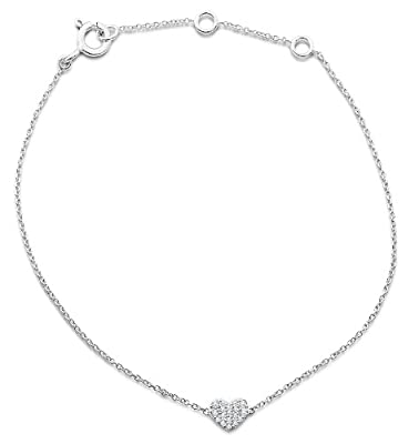 Miore MY008B 9 ct White Gold Diamond Set Heart 19 cm Bracelet Including 3 cm Extender