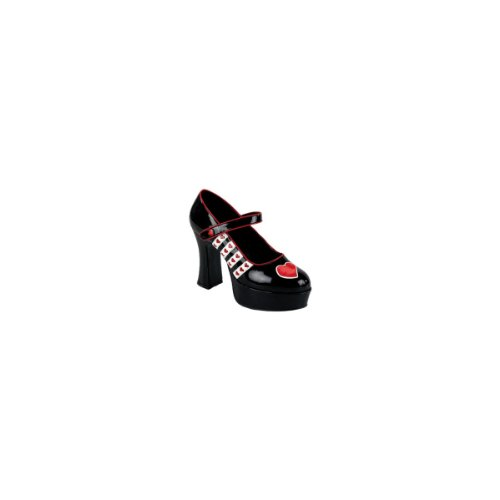 Black-White-Red Patent Queen-55, Maryjane Queen Of Heart Shoes