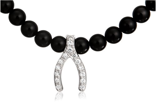 Sterling Silver Black Onyx Beads and Cubic Zirconia Wishbone Necklace, 18