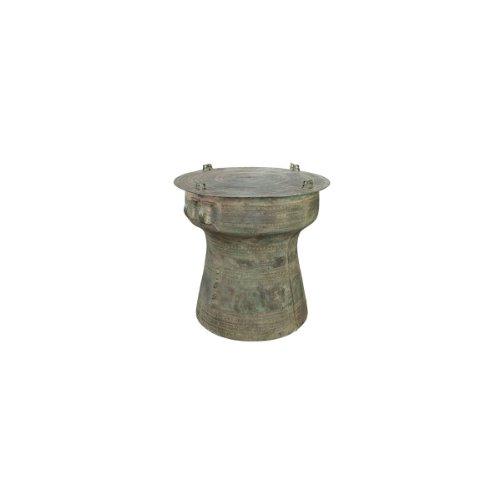 Short Rain Drum, Antique Replica In Solid Bronze - Raindrums, Indoor Decor, Inspiring Accent Seats And Coffee Tables - 17.75 X 17.75 X 25.5 In