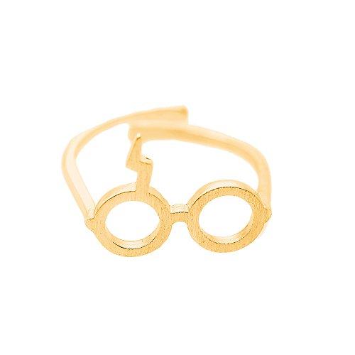 Spinningdaisy Handcrafted Brushed Lightning Bolt Scar Adjustable Ring Gold