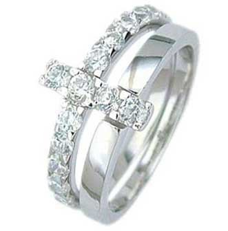 Sterling Silver Wedding Ring Set with Round Cubic Zirconias in Shared Prong Setting