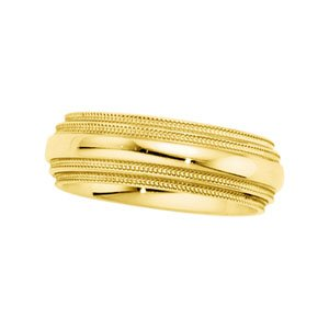 14K Yellow Gold 6mm Comfort-Fit Double Milgrain Band: SIZE 12.00