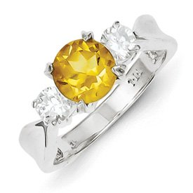 Genuine IceCarats Designer Jewelry Gift Sterling Silver Citrine Ring Size 6.00