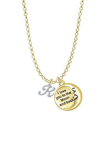 Mini Gelato Script Initial - K - Gold Tone I Love You To The Moon Necklace