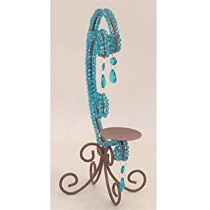 """Brown & Blue Jeweled Pillar Candle Holder 9"""" x 13.5"""" #85892"""
