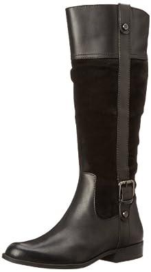 AK Anne Klein Women's Cijiw Riding Boot,Black Combo,5 M US