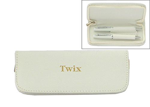 pen-set-in-custom-engraved-white-leatherette-holder-with-name-twix-first-name-surname-nickname