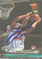 Derrick Coleman New Jersey Nets 1992 Fleer Ultra Autographed Hand Signed Trading Card... by Hall+of+Fame+Memorabilia