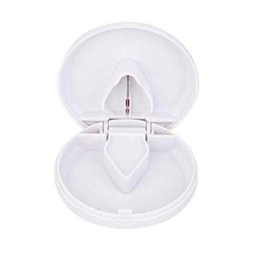 Round Design Pill Cutter Splitter Storage Compartment Box Medicine Holder - White (Round Pill Cutter compare prices)
