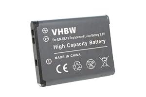 vhbw Li-Ion Batterie pour Nikon CoolPix S2500, S2600, S2700, S3100, S3200, S3500, S4100, S4200, S5200, S6500 remplace EN-EL19, EN-EL 19.