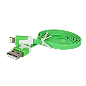 CaseGuru Slim Flat Lead 8 Pin Charger Sync Transfer Data Cable for PC/Mac for Apple iPhone 5 iPad Mini iPad 4 4th Generation iPad Retina iPod Touch 5 Nano 7 (Green)