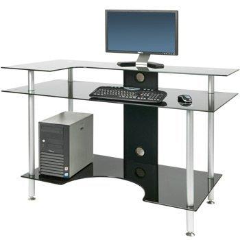 PC001 LRB - Large Rectangular Black Glass Computer Desk