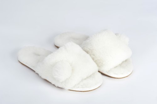 Image of Sheep Touch Women's ACACIA Australian Sheepskin Slippers Open Toe White (B005PR9YUU)