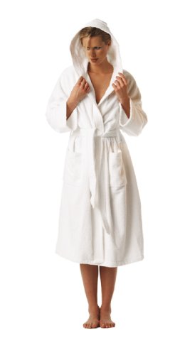 Buscher 201180-100-XL Kimono Cotton Bathrobe with Hood 400g/ m2 Small White