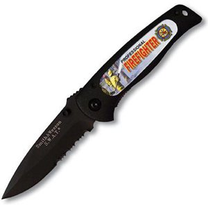 Smith & Wesson Sw21807 Swat Baby Black Serrated With Insert Knife, Black With Firefighter Design