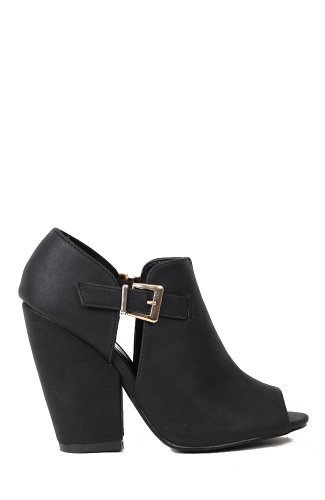 Qupid Sawyer-02 Cutout Peep Toe Heel Bootie - Black Gold