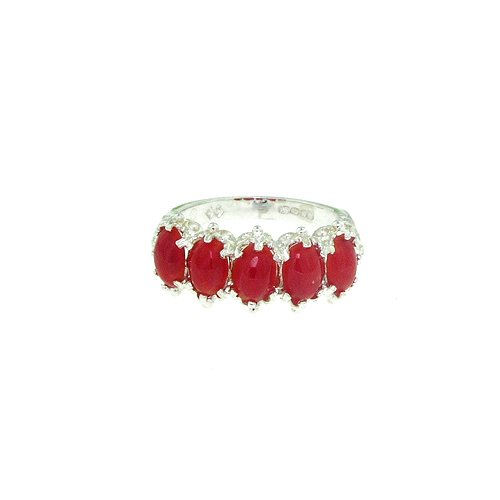 Sterling Silver Ladies 5 Stone Natural Coral Ring - Size L - Finger Sizes L to Z Available