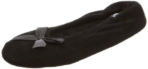isotoner-double-bow-terry-ballet-slippers-damen-hausschuhe-schwarz-black-white-spot-bow-grosse-m